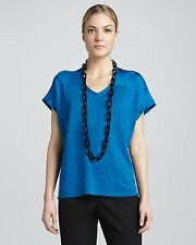$198 EILEEN FISHER Crystal Blue Linen Silk Jersey w/ Silk V Neck Top M L XL NWT