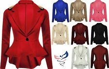 Womens SPIKE - STUDDED Jacket Ladies Peplum Frill Blazer Tail Back Stud Top 8-16