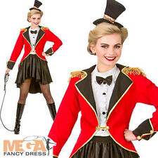Ringmaster Ladies Circus Fancy Dress Womens Lion Tamer Adults Costume Outfit