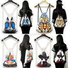 Personalized Canvas Backpack Floral Animal Rucksack Drawstring Shoulders Bags