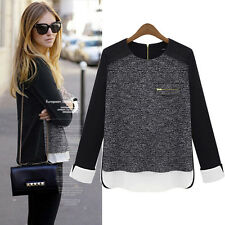2014 Women Long Sleeve Back Zip Shirt Sexy Crewneck Loose Tops Blouse Size 6-20