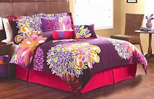 BRIGHT MODERN GIRLS PINK PURPLE FLORAL DREAM 7-PC COMFORTER SET QUEEN FULL TWIN