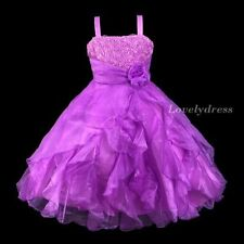 NEW Flower Girl Wedding Pageant Party Princess Birthday Dress Purple SZ 4-9 Q328