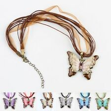 Women Fashion Crystal painting Alloy Butterfly Pendant Necklace Elegant