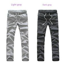 Fashion soft mens cotton blend sports casual long loose home pocket trousers