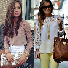 8 Colors Ladies Womens Chiffon Tops Lace Long Sleeve Shirt Casual Blouse UK 6-22
