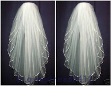 New Elegant 2T White or Ivory Wedding Bridal  Elbow Satin Edge Veil With Comb