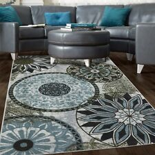 NEW MEDALLION NYLON AREA RUG GREY BLUE NAVY BROWN Living Room Bedroom Decor