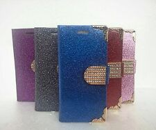 CRYSTAL DIAMOND BLING GLITTER FLIP LEATHER WALLET CASE FOR APPLE IPHONE 4s,5s,5c