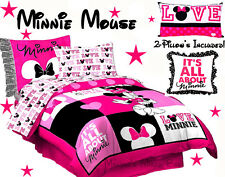 Disney MINNIE MOUSE Pink Full Twin Size Comforter/QUILT SHAM SHEET SET+2-PiLLOWS