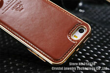 Luxury Genuine Leather case Metal Bumper Frame Back Cover Case For iPhone 5 5S