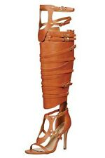 NEW HOT WOMENS TAN KNEE HIGH FAUX LEATHER BUCKLED GLADIATOR STILETTOS- SALE