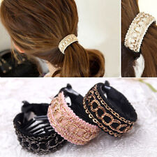 New Women Comb Style Ponytail Hair Holder Wrap Tie Cuff Clips Accessories band