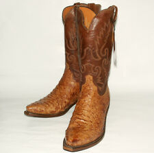 Full Quill Ostrich Skin Lucchese Men's N1062 Tan Burnish Western Boots Snip Toe