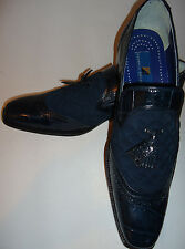 Giorgio Brutini 210793 Navy Blue Exotic Croco Embossed Leather Loafers Shoes