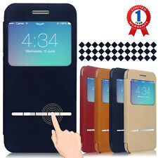 NEW Smart Window View Front Flip Cover W Open Logo Back Folio Case for iPhone 6