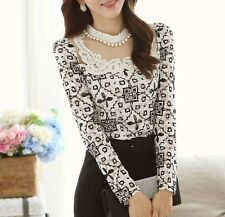 New Women Fashion Korean Lace Floral Slim Tops Hot Long Sleeve T Shirt Blouse
