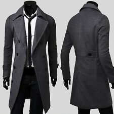 Vintage Korean Men's Slim Fit Pea Coat Blazer Jacket Military Long Trench Coats