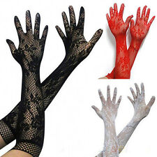 Womens Stretch Lace Opear/Long Length Gloves Black White Red 3 Colors Fashion
