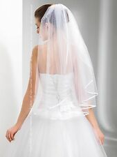 """New 1T White / Ivory Wedding Prom Bridal Elbow Veil With Comb 28"""" - Satin Edge"""