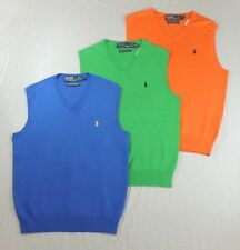125 Men Polo Ralph Lauren Pima Cotton V Neck Pony Pullover Sweater Vest S M L XL