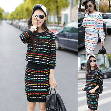 Womens Comfort Striped Knitted Crew Neck 2 Pieces Suits Bottoming Short Skirts