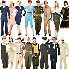 1940s WW2 Adults Fancy Dress 40s Wartime Military Uniform Mens Ladies Costumes