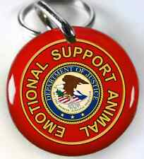 ESA Emotional Support Animal Service Dog Animal Custom Pet ID Tags red 2 Sizes