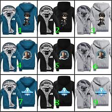 Winter Hooded Men Coat Fleece Zip Thick Hoodie Sword Art Online SAO Kirito Asuna
