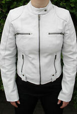 Womens Ladies Girls Real Soft Leather Racing Style Jacket
