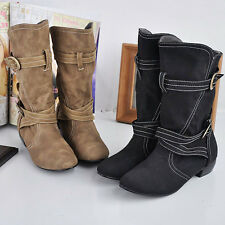 Ladies Faux Suede Buckle strap Pull On Low Heel Mid Calf Boots Plus Sz