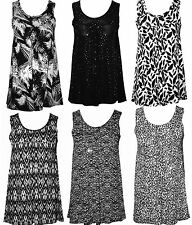 Womens Ladies Plus Size Sleeveless Sequin Floral Printed top vest Dress 12 to 26