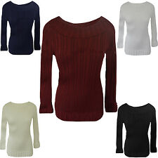 Womens Ribbed Long Sleeve Fancy Knitted Jumper Sweater Size UK 8-14