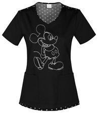 Cherokee Scrubs Spinning A Yarn Black Scrub Top 6623 MKNB Mickey Mouse