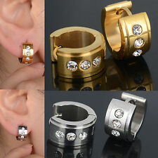 Stylist New Stainless Steel Silver Gold Plated Hoop Earrings Ear Stud Plug Men