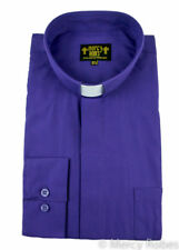 New Mens Standard Cuff PURPLE CLERGY SHIRT, TAB COLLAR, Pastor, Priest, Bishop