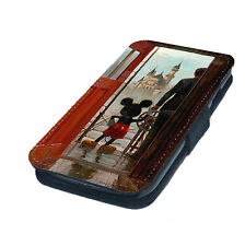 Mickey in Doorway Castle Printed Faux Leather Flip Phone Cover Case