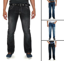 Crosshatch Fashion Jeans Men's New Straight Fit Vintage Faded Denim Pants