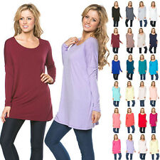 IRON PUPPY Women's L/Slv Solid Piko Style Top Soft BAMBOO Tunic Batwing Shirts