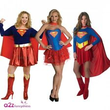 LADIES SUPERGIRL SUPERHERO SUPERHEROES PLUS SIZE TUTU FANCY DRESS COSTUME OUTFIT