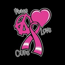 Peace Love Cure Breast Cancer Awareness Men's T-Shirt All Sizes And Colors New