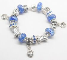 EUROPEAN STYLE CHARM BEAD BRACELET  Dog Theme blue
