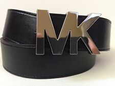 MICHAEL KORS WOMEN'S BLACK BELT WITH MK LOGO SILVER BUCKLE NEW WITH TAG S L XL
