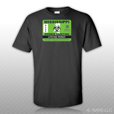 Mississippi Zombie Hunting Permit T-Shirt Tee Shirt Free Sticker outbreak