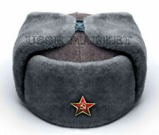 100% RUSSIAN SOVIET RED ARMY USHANKA WINTER FUR HAT SHOOSE A 6 BADGE ALL SIZES