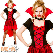 Glamorous Vampire Lady Halloween Ladies Fancy Dress Womens Vampire Adult Costume