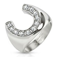 Stainless Steel Round Clear CZ Lucky Horseshoe Men's Ring Size 9-13