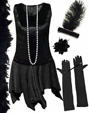 Hot! Black Roaring 20's PLUS SIZE Flapper Dress Halloween Costume 1x to 8x