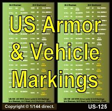 1/100 15mm 1/76 Decals US-125 -126 -127 -128 US WWII Armor Marks & Bumper Codes