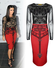 Women Ladies Kim Kardashian Celebrity Mesh Skull Long Sleeve Midi Dress